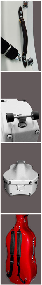 Alan Stevenson Cases_'Cello Case_Leather Handle Wheel Stud and Backpack Details
